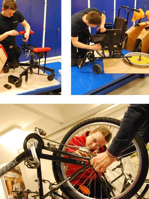 sätter ihop rullstol